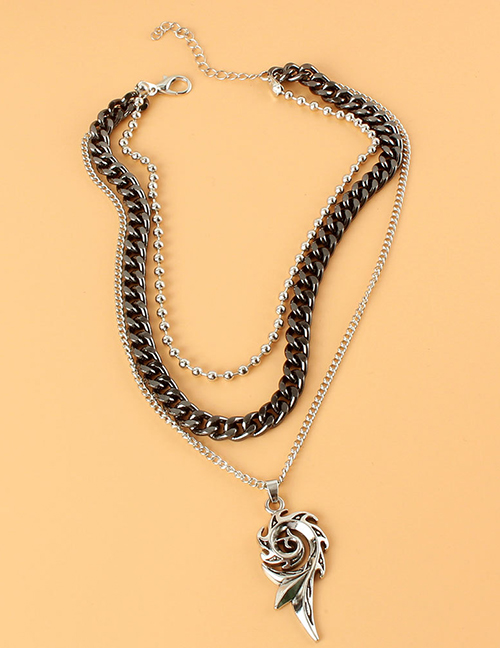Fashion Black Fire Wheel Multilayer Necklace