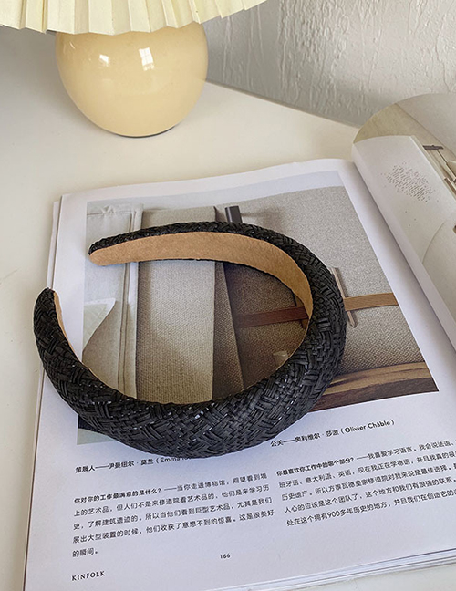 Fashion Heightened 3 Cm Black Woven Lattice Light Board Sponge Headband