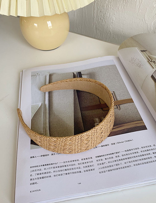 Fashion Flat 4 Cm Khaki Woven Lattice Light Board Sponge Headband