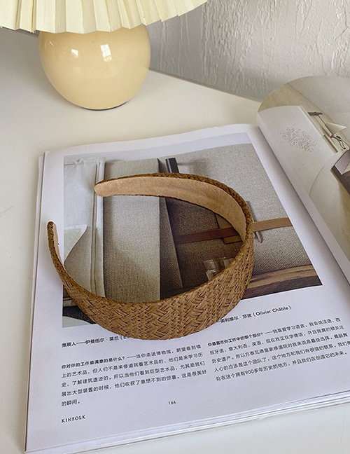 Fashion Flat 4 Cm Coffee Color Woven Lattice Light Board Sponge Headband