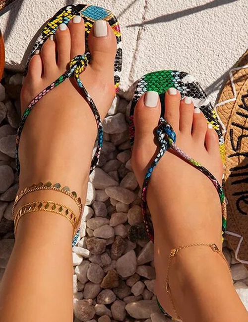 Fashion Color Flip Flops With Thin Straps