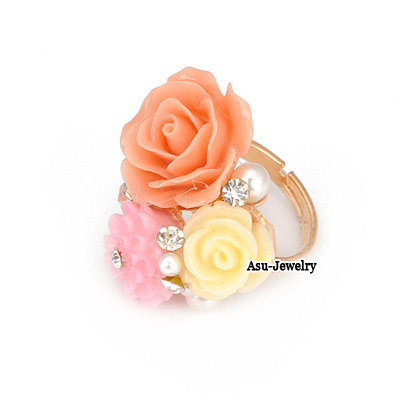 Fashion Silver Color Flower&diamond Decorated Opening Ring