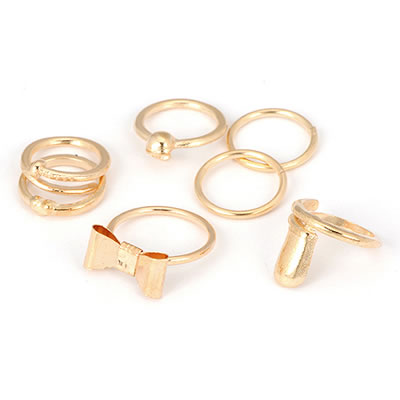 Fashion Gold Color Mask Shape Decorated Pure Color Ring(2pcs)