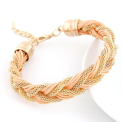 Jogging Light Pink Metal And Rope Weave Design Alloy Korean Fashion Bracelet