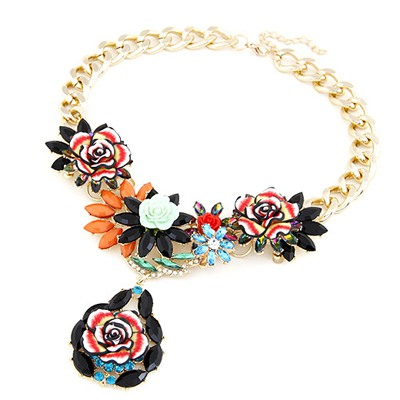 Brown Black Blooming Rose Flowers Decorated Design Alloy Bib Necklaces