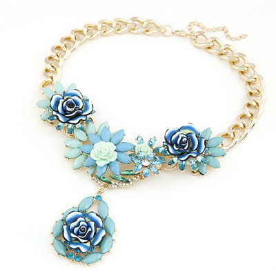 Baltic Blue Blooming Rose Flowers Decorated Design Alloy Bib Necklaces