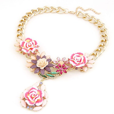Charming Beige Blooming Rose Flowers Decorated Design Alloy Bib Necklaces