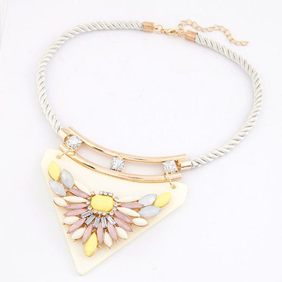 Special White Triangle Pendant Decorated With Flower Design Rosin Bib Necklaces