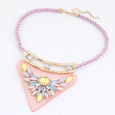 Hipster Pink Triangle Pendant Decorated With Flower Design Rosin Bib Necklaces