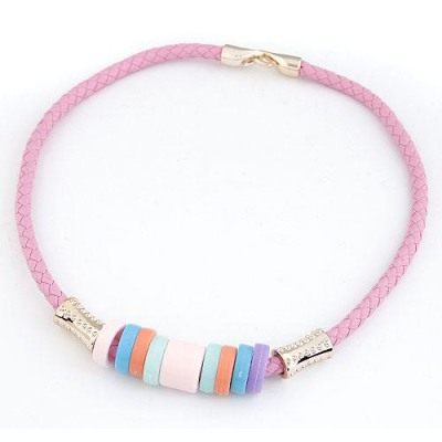 Stretch Pink Candy Circles Decorated Design CCB Chokers