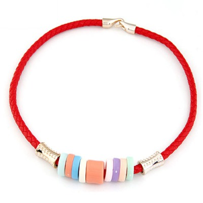 Corporate Red Candy Circles Decorated Design CCB Chokers