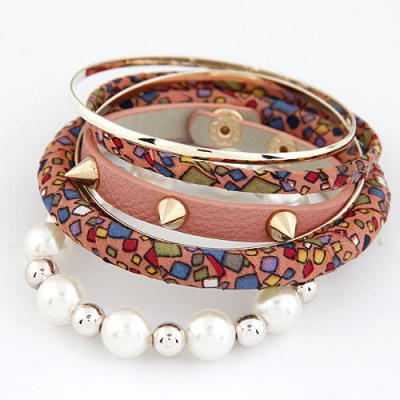 Uniform Pink Rivet Pearl Decorated Multilayer Design Alloy Fashion Bangles