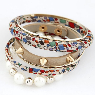 Special Khaki Rivet Pearl Decorated Multilayer Design Alloy Fashion Bangles