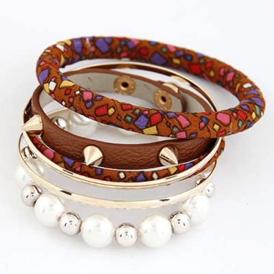 Political Coffee Rivet Pearl Decorated Multilayer Design Alloy Fashion Bangles
