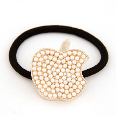 Equestrian White Full Of Pearl Apple Shape Decorated Alloy Hair band hair hoop