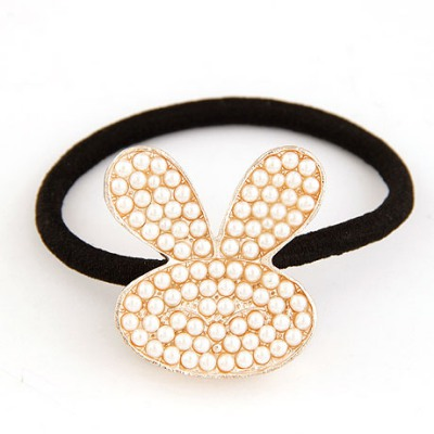 Business White Full Of Pearl Rabbit Decorated Alloy Hair band hair hoop