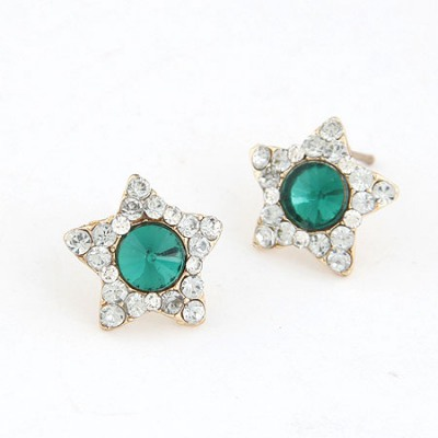 Catholic Green Star Shape With Diamond Design Alloy Stud Earrings