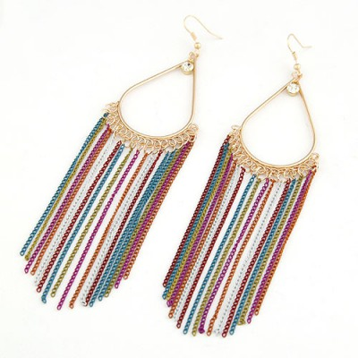 Genuine Multicolor Water Drop Tassles Design Alloy Korean Earrings