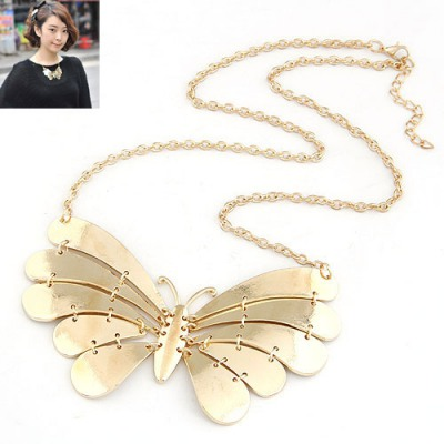 Players Gold Color Metal Butterfly Pendant Design Alloy Bib Necklaces