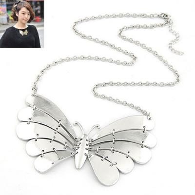 Polaris Silver Color Metal Butterfly Pendant Design Alloy Bib Necklaces