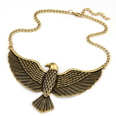 Fashion Antique Gold Vintage Eagle Pendant Design Alloy Bib Necklaces