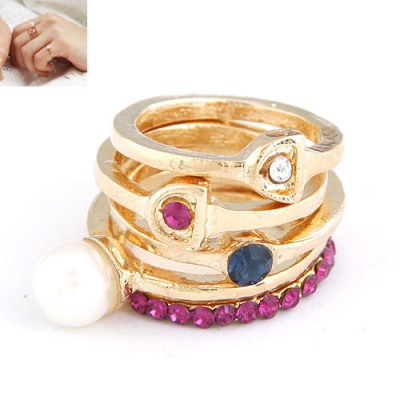 Baltic Gold color Five Combination Design Alloy Korean Rings