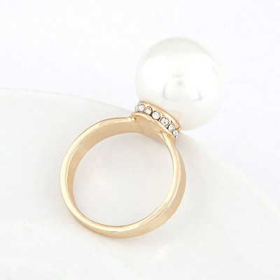 Convertibl White Big Pearl Decorated Design Alloy Korean Rings
