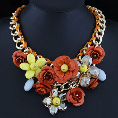 Discount Multicolor Rose Flower Decorated Design Alloy Bib Necklaces