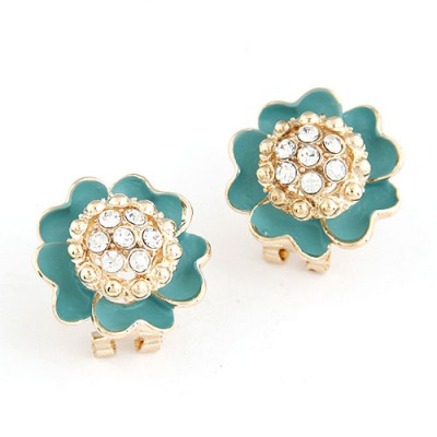 Foldable Blue Sparkly Diamond Petal Design Alloy Stud Earrings