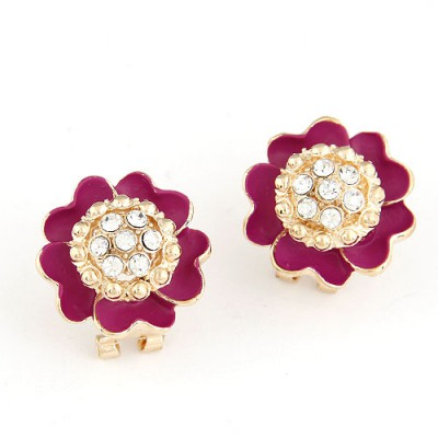 Papyrus Claret-red Sparkly Diamond Petal Design Alloy Stud Earrings