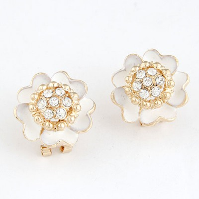 Discount White Sparkly Diamond Petal Design Alloy Stud Earrings