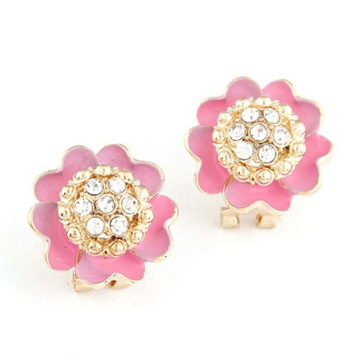 Reflective Pink Sparkly Diamond Petal Design Alloy Stud Earrings