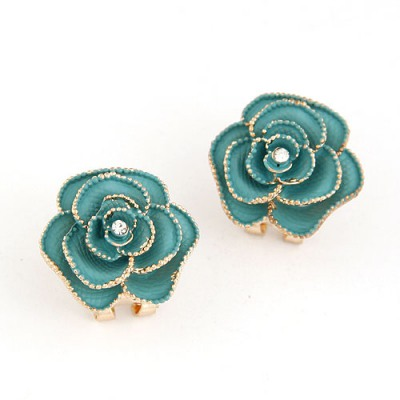 Faddish Dark Green Rose Shape Simple Design Alloy Stud Earrings