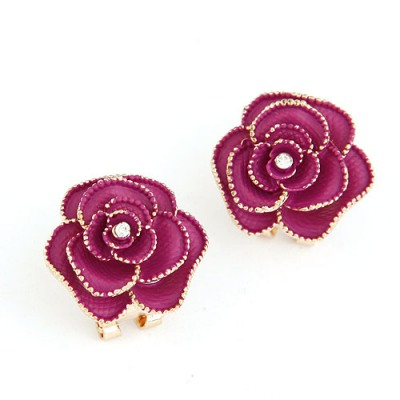 Portable Claret-red Rose Shape Simple Design Alloy Stud Earrings