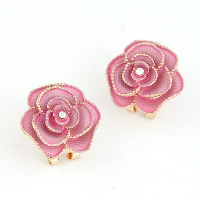 Madewell Light Pink Rose Shape Simple Design Alloy Stud Earrings