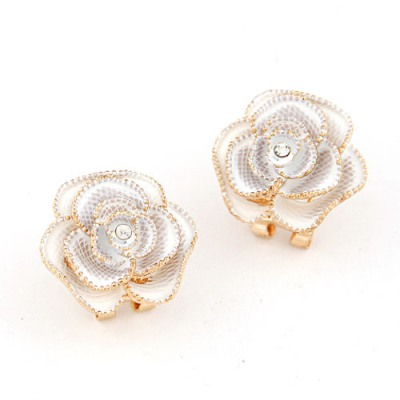 Winter White Rose Shape Simple Design Alloy Stud Earrings
