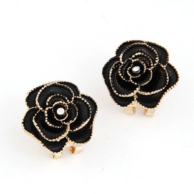 Funky Black Rose Shape Simple Design Alloy Stud Earrings
