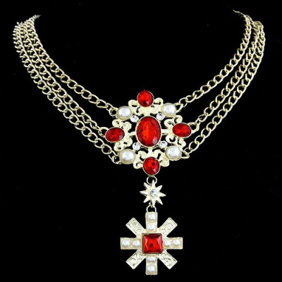 Fused Red Cross Pendant Three Layer Design Alloy Chains