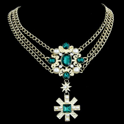 Renaissanc Green Cross Pendant Three Layer Design Alloy Bib Necklaces