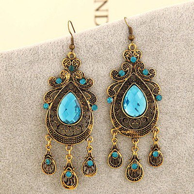Portable Sky Blue Hollow Out Water Drop Shape Design Alloy Korean Earrings
