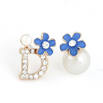 Streamline Blue Asymmetry Flower Pearl Design Alloy Stud Earrings