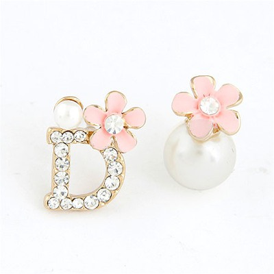 Heather Pink Asymmetry Flower Pearl Design Alloy Stud Earrings
