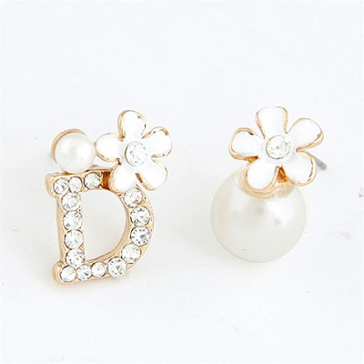 Celebrity White Asymmetry Flower Pearl Design Alloy Stud Earrings