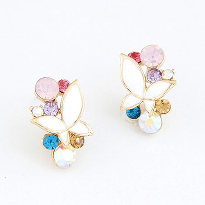 Metallic Multicolor Decorated With Diamond Butterfly Design Alloy Stud Earrings