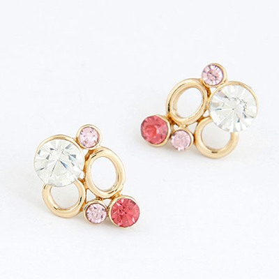 Plaid Red Decorated With Diamond Double Circle Design Alloy Stud Earrings