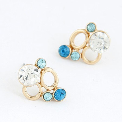 Modest Blue Decorated With Diamond Double Circle Design Alloy Stud Earrings