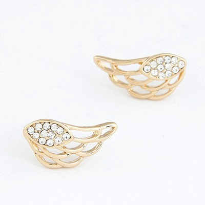 Sparrow Gold Color Hollow Out Wing With Diamond Design Alloy Stud Earrings