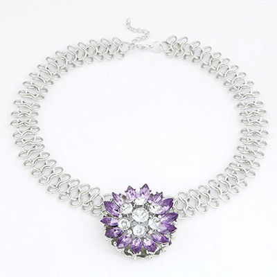 Cardboard Purple Elegant Flower Pendant Design Alloy Bib Necklaces