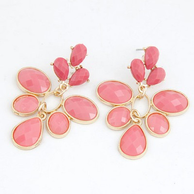 Fair Plum Red Leaf Shape Simple Design Alloy Stud Earrings