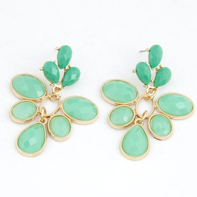 Healing Light Green Leaf Shape Simple Design Alloy Stud Earrings